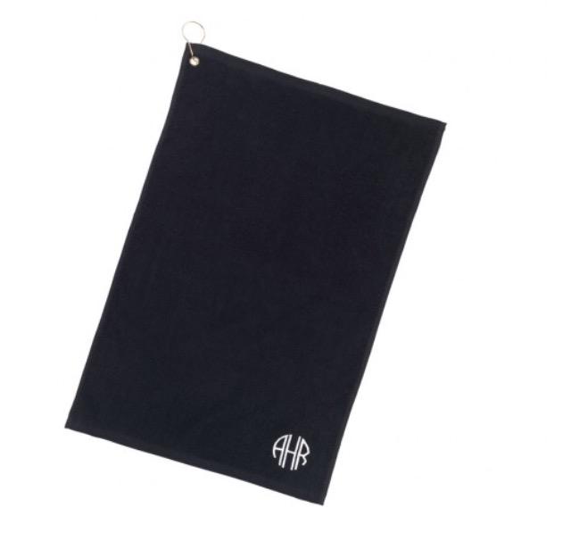 Monogrammed Black Golf Towel