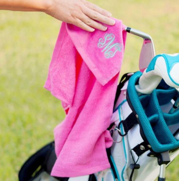 Monogrammed Hot Pink Golf Towel
